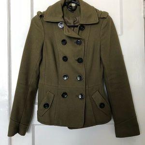 Army green pea coat